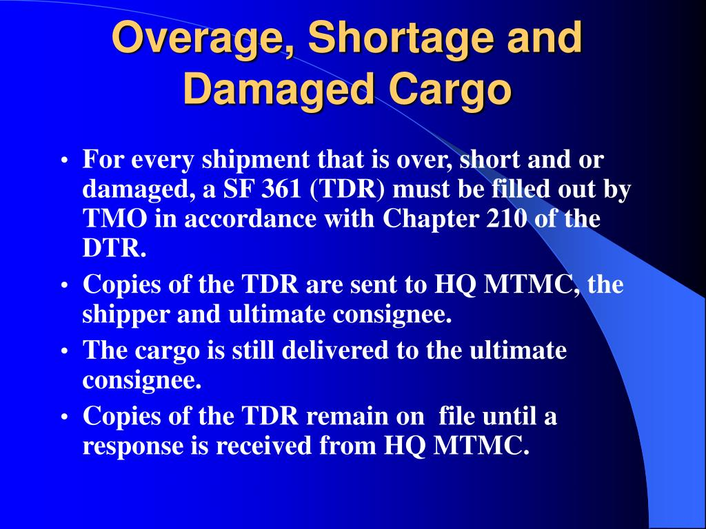 Overage, Shortage and Damaged Cargo