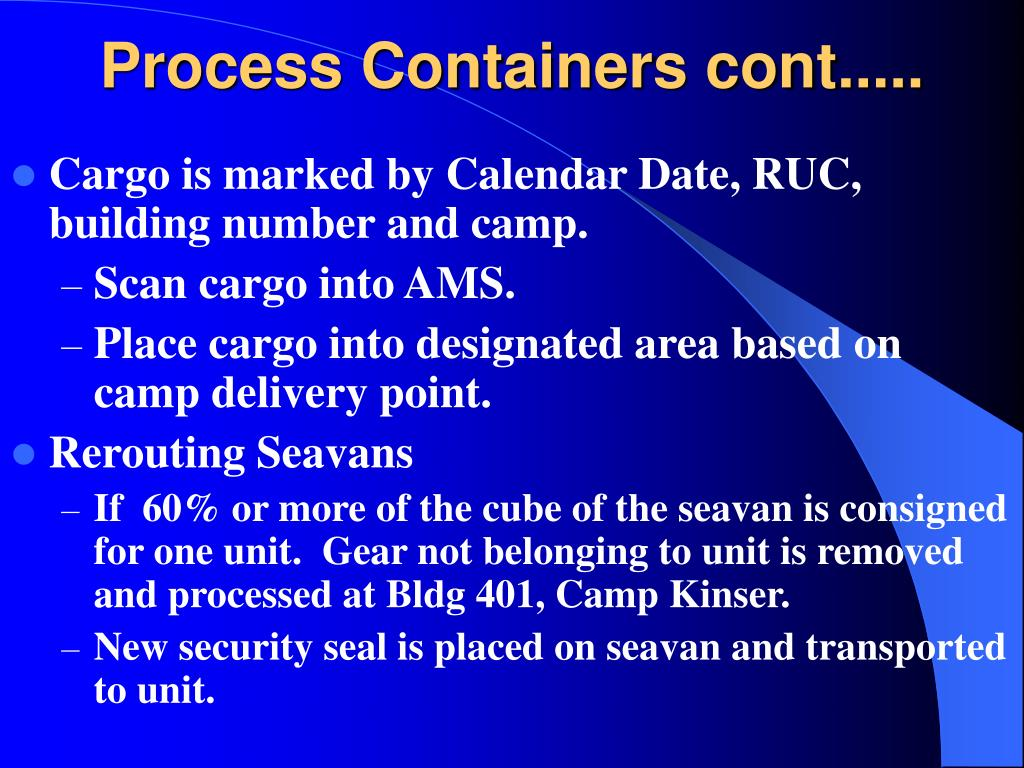 Process Containers cont.....