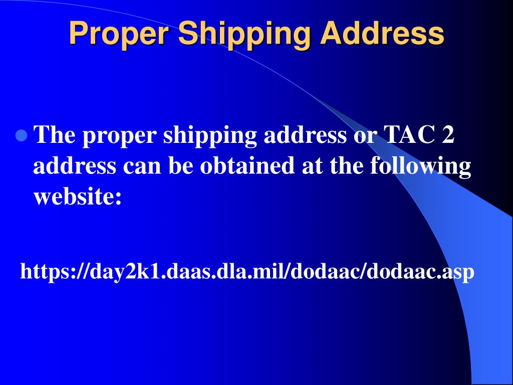 Proper Shipping Address