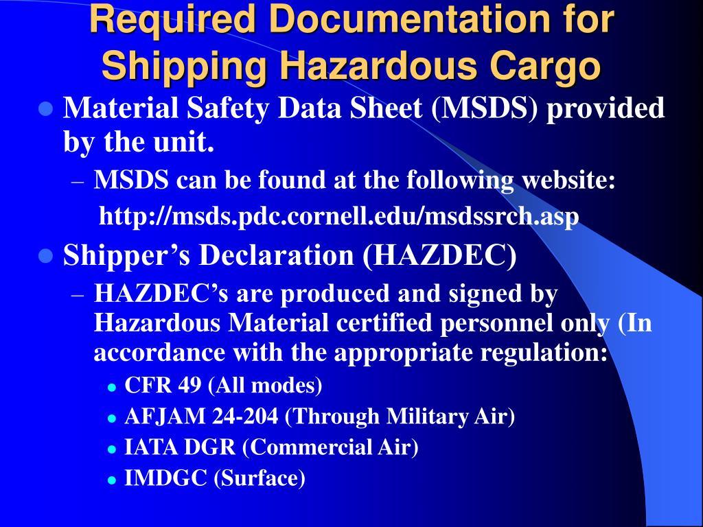 Required Documentation for Shipping Hazardous Cargo