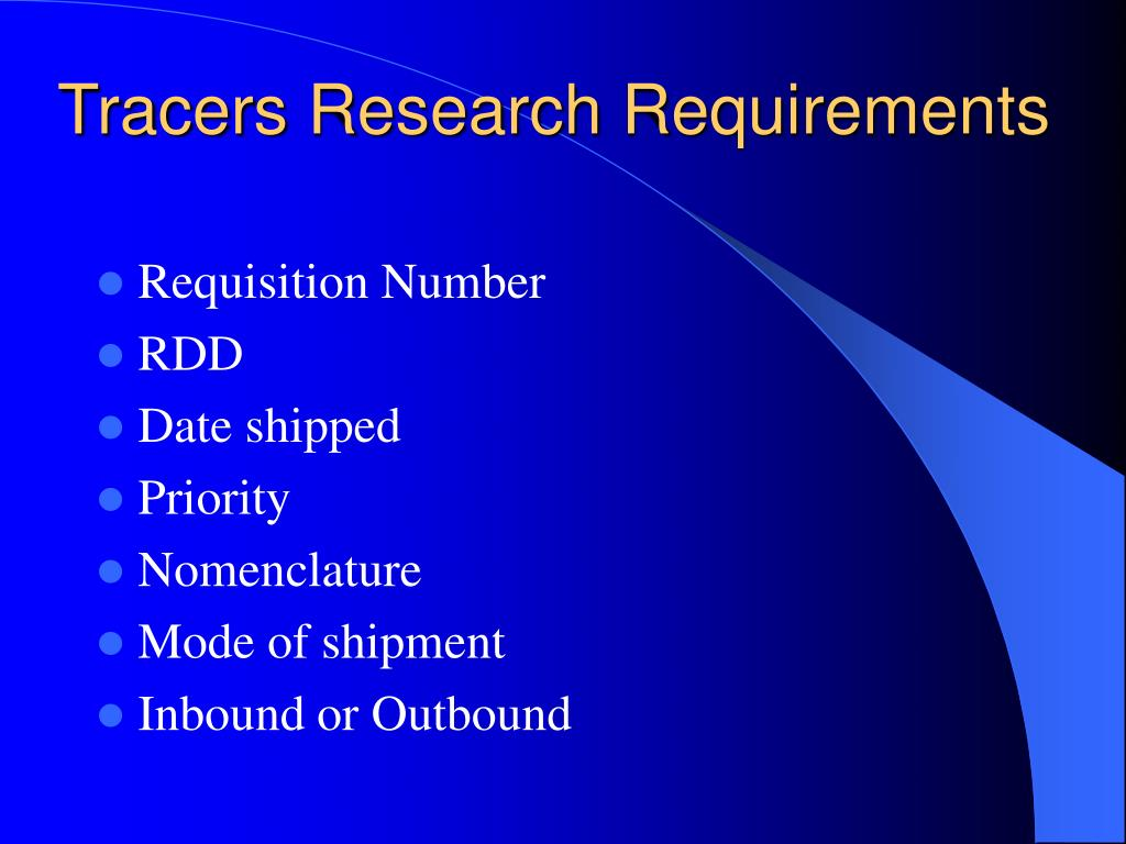 Tracers Research Requirements