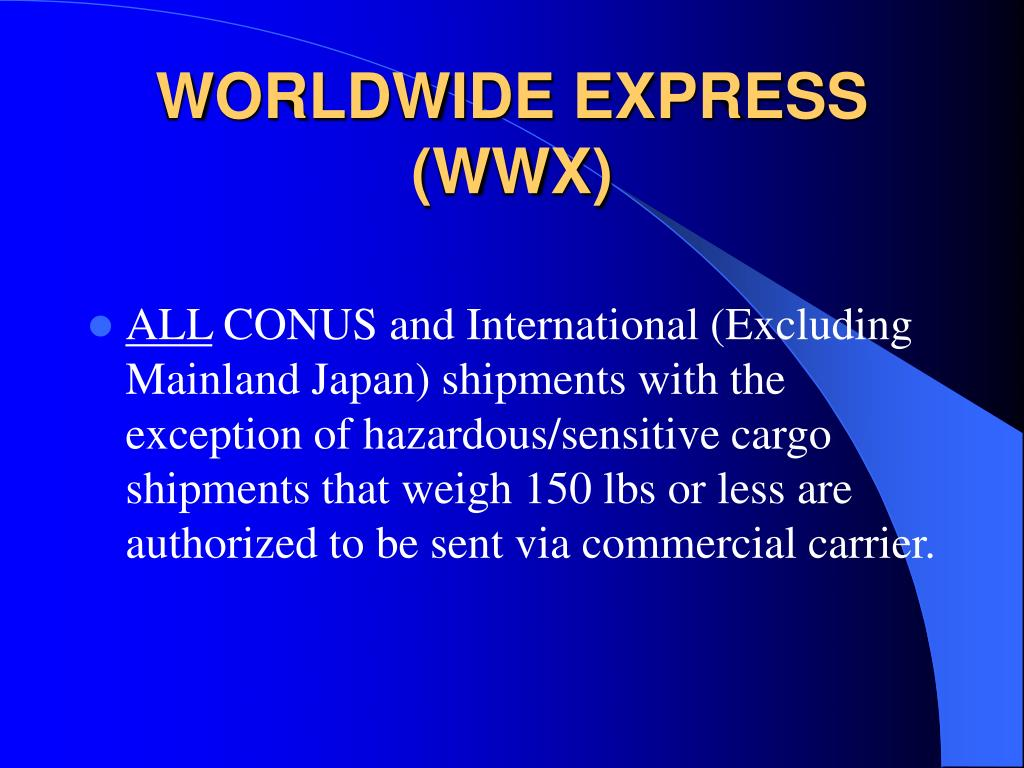 WORLDWIDE EXPRESS (WWX)
