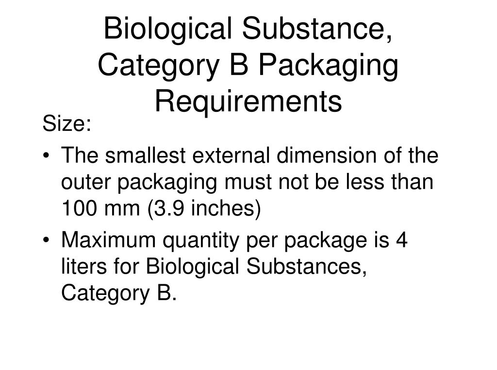 Biological Substance, Category B Packaging Requirements