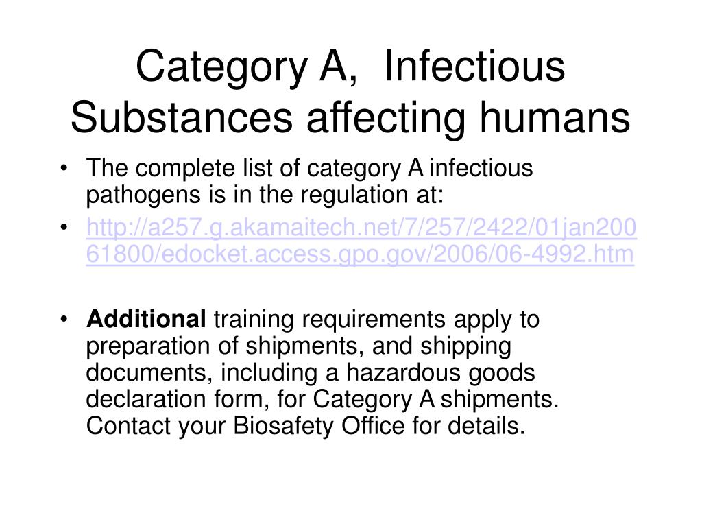 Category A,  Infectious Substances affecting humans