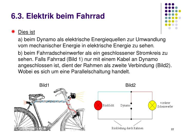 6.3. Elektrik beim Fahrrad