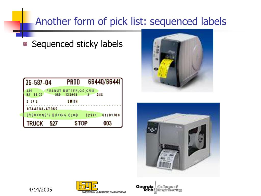Another form of pick list: sequenced labels