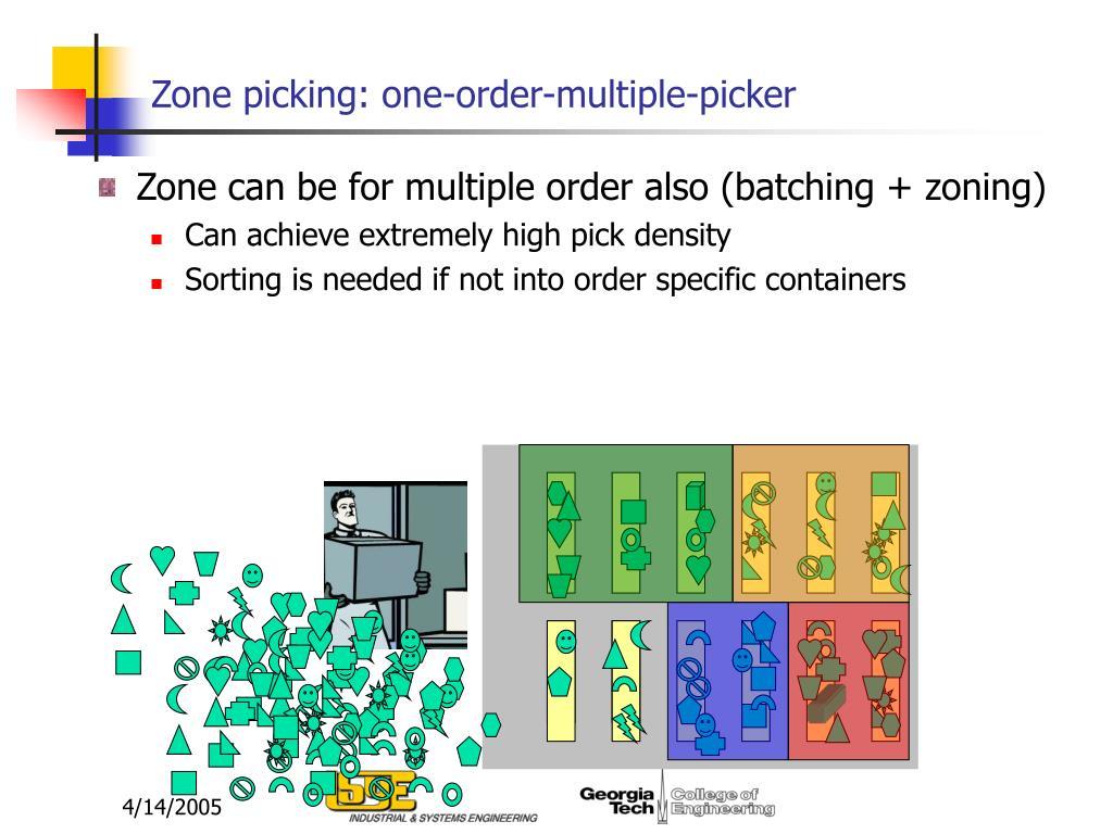 Zone picking: one-order-multiple-picker