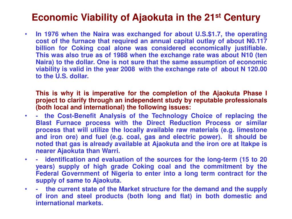 Economic Viability of Ajaokuta in the 21