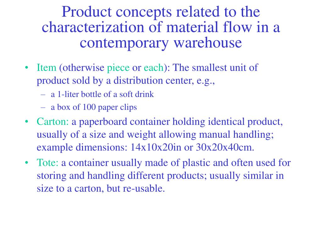 Product concepts related to the characterization of material flow in a contemporary warehouse