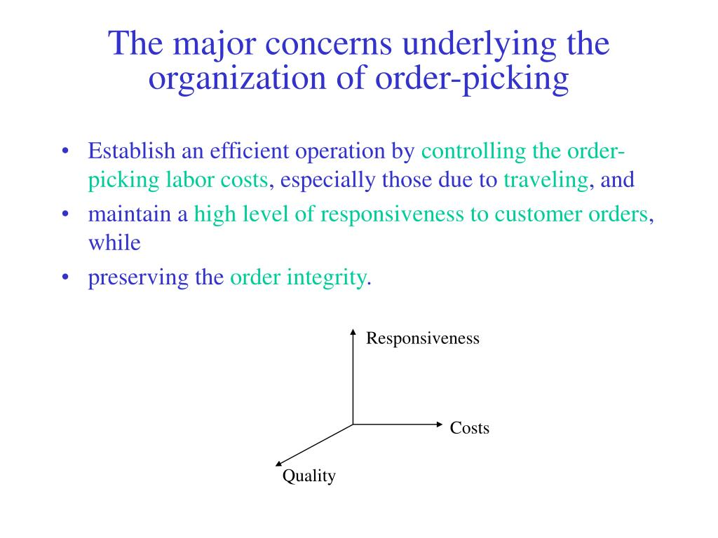 The major concerns underlying the organization of order-picking