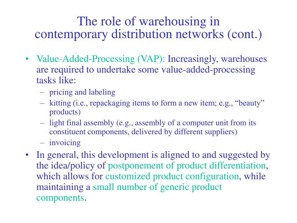 The role of warehousing in