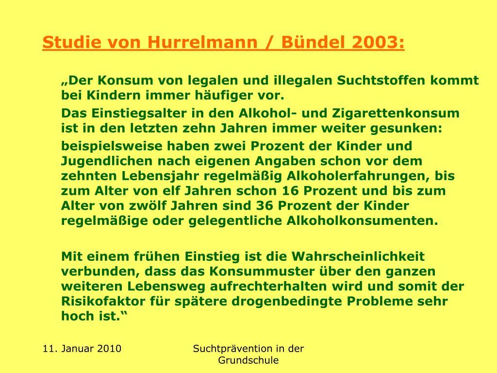 Studie von Hurrelmann / Bündel 2003: