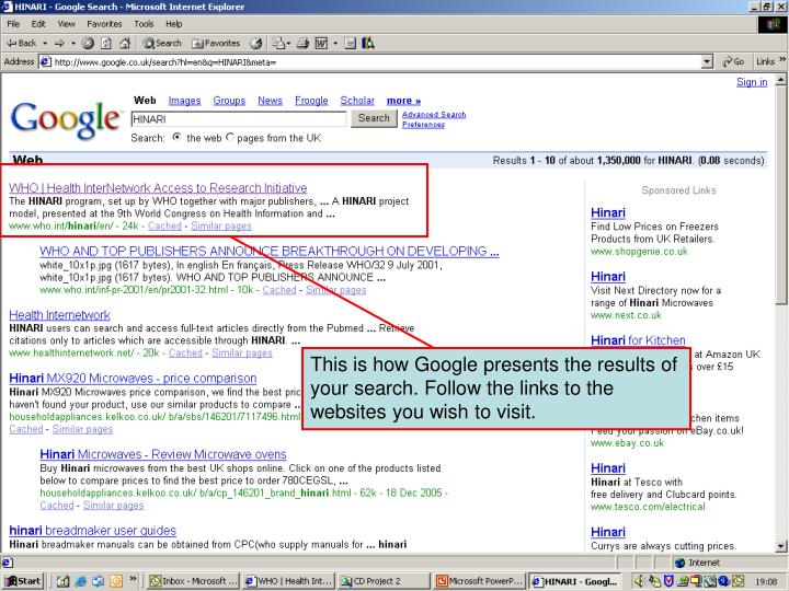 Search results on Google