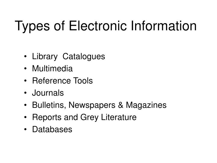 Types of Electronic Information