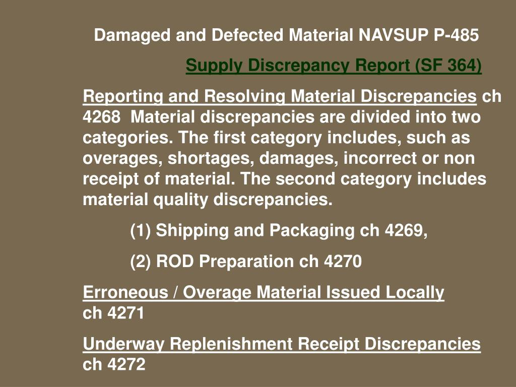 Damaged and Defected Material NAVSUP P-485