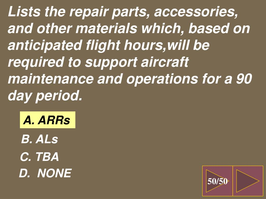 Lists the repair parts, accessories, and other materials which, based on anticipated flight hours,will be required to support aircraft maintenance and operations for a 90 day period.