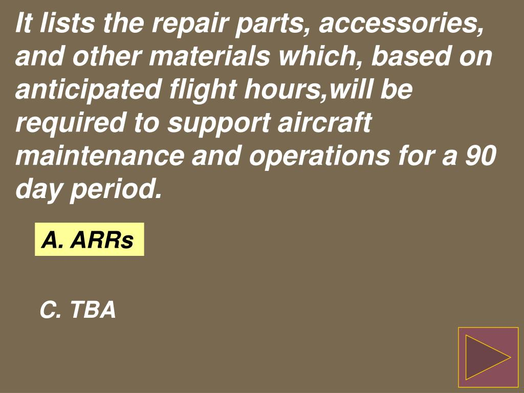 It lists the repair parts, accessories, and other materials which, based on anticipated flight hours,will be required to support aircraft maintenance and operations for a 90 day period.