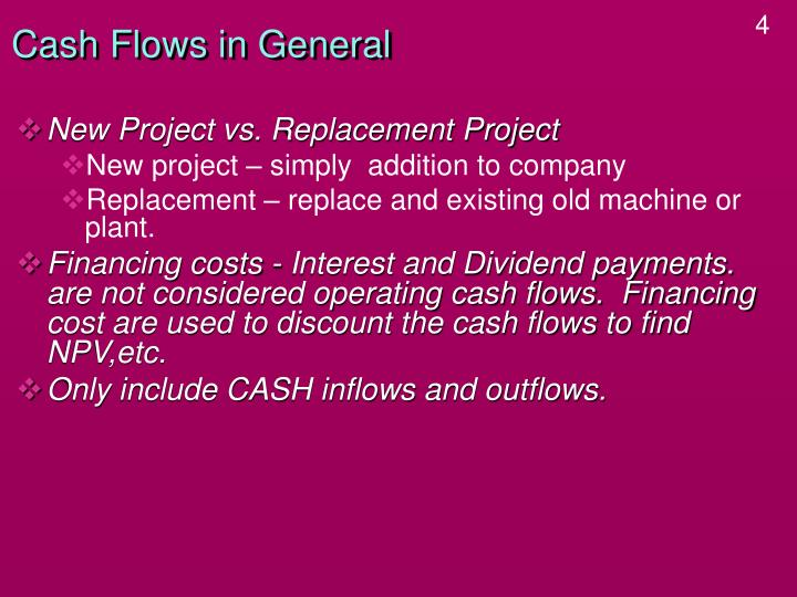 Cash flows in general3