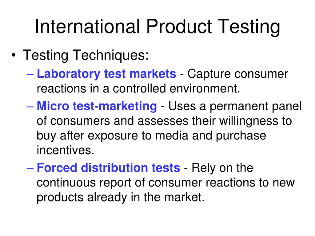 International Product Testing