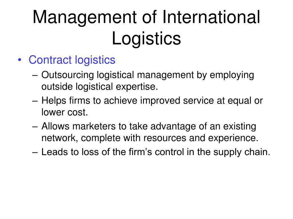 Management of International Logistics