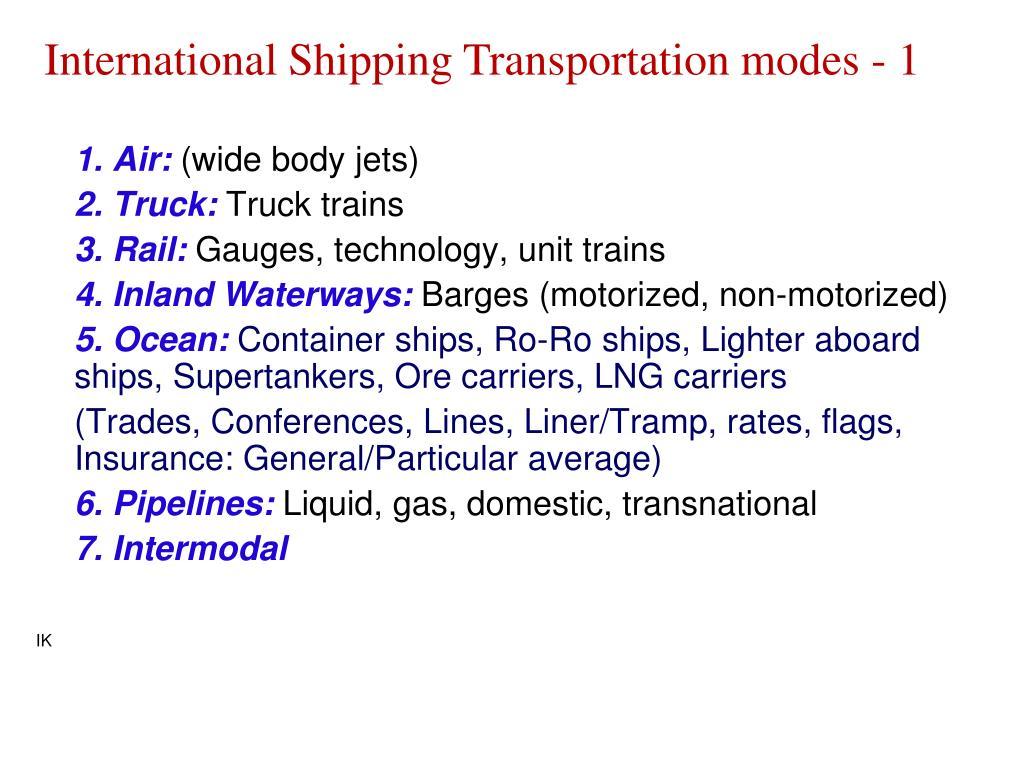 International Shipping Transportation modes - 1