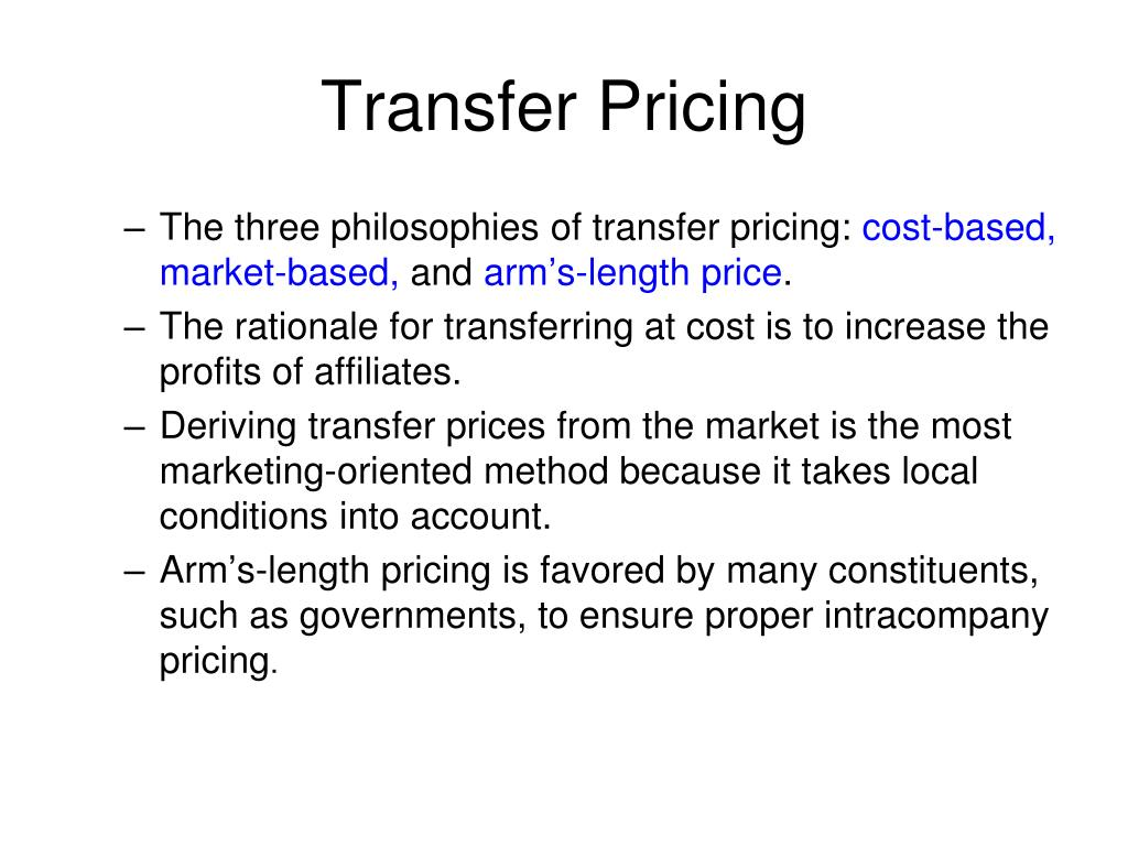 The three philosophies of transfer pricing:
