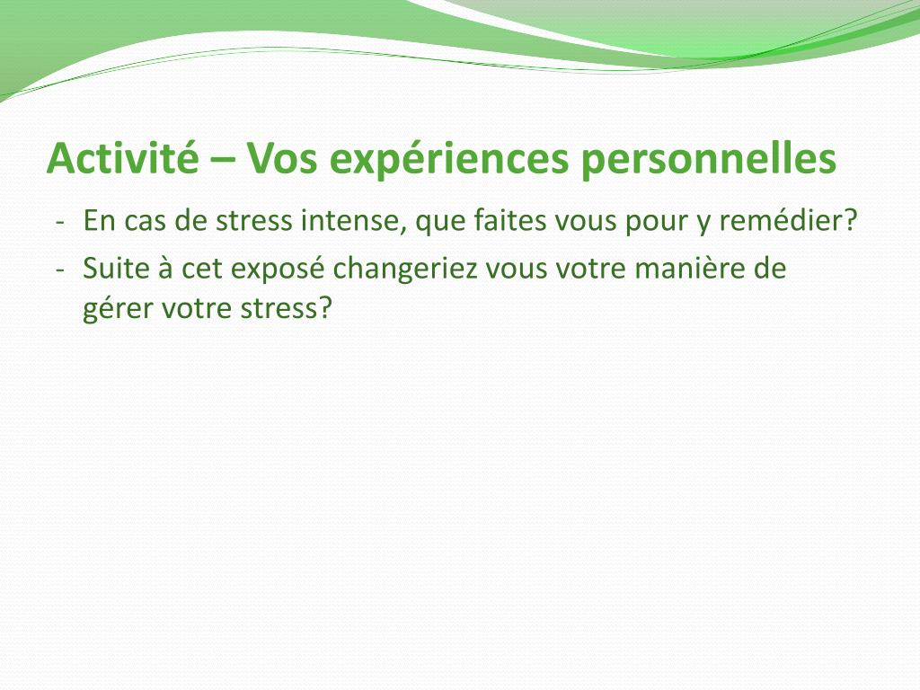 Activité – Vos expériences personnelles