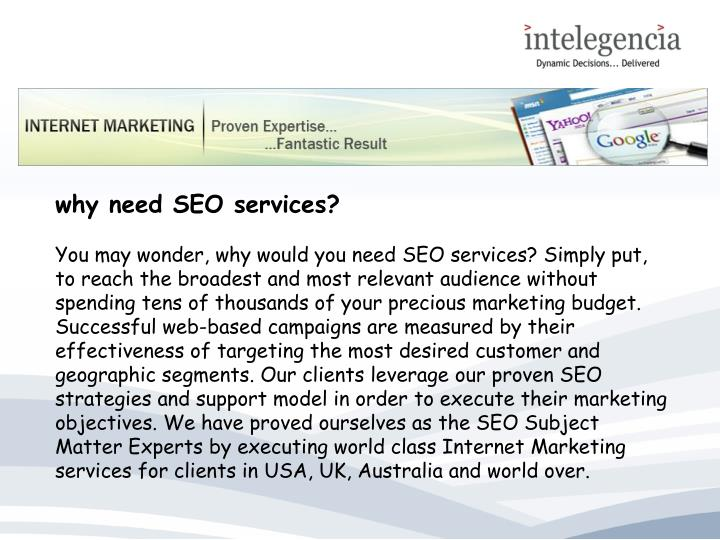 Why need SEO services?
