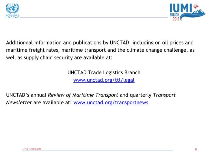Additionnal information and publications by UNCTAD, including on oil prices and