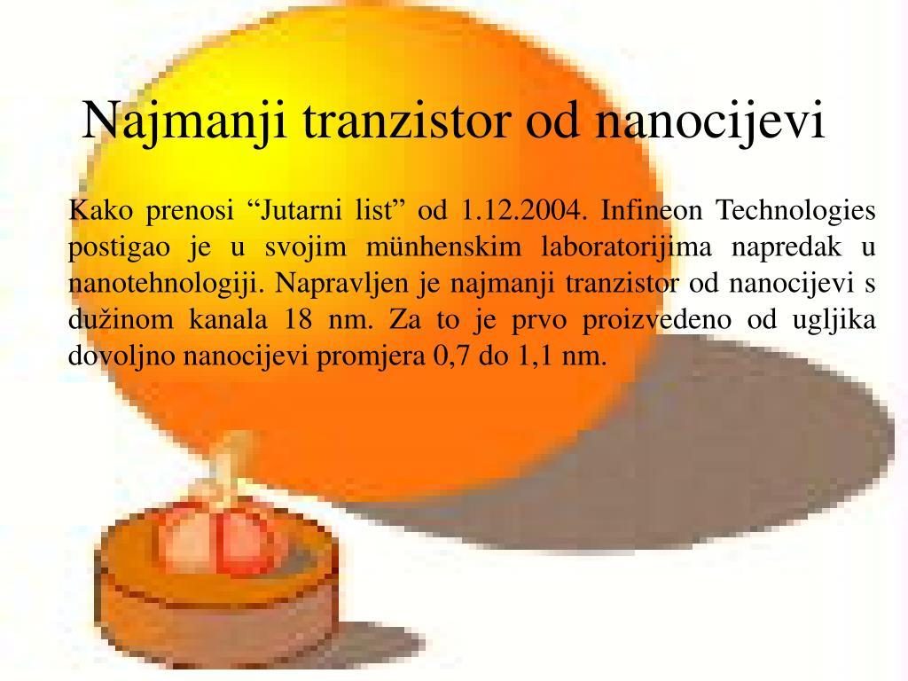 Najmanji tranzistor od nanocijevi