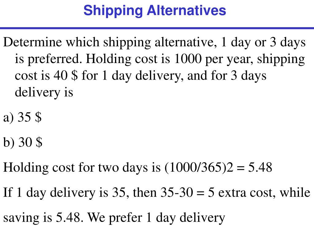 Shipping Alternatives