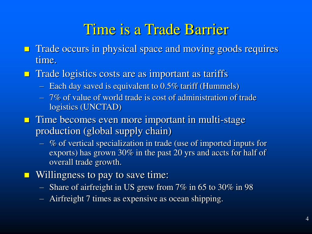 Trade occurs in physical space and moving goods requires time.