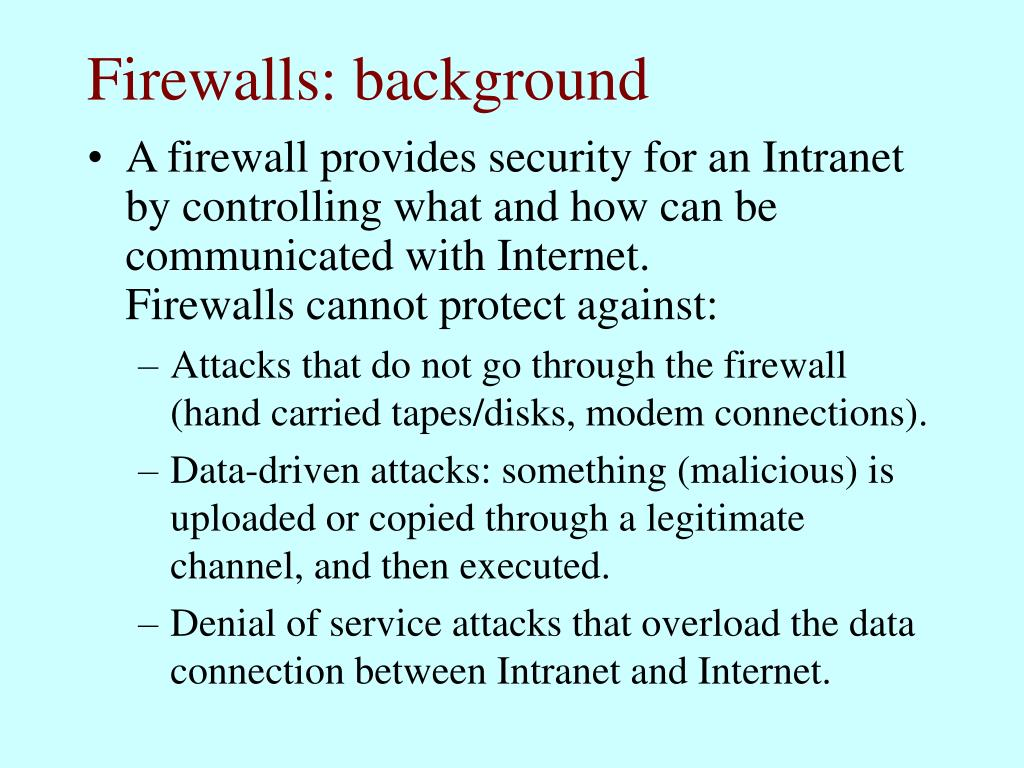 Firewalls: background