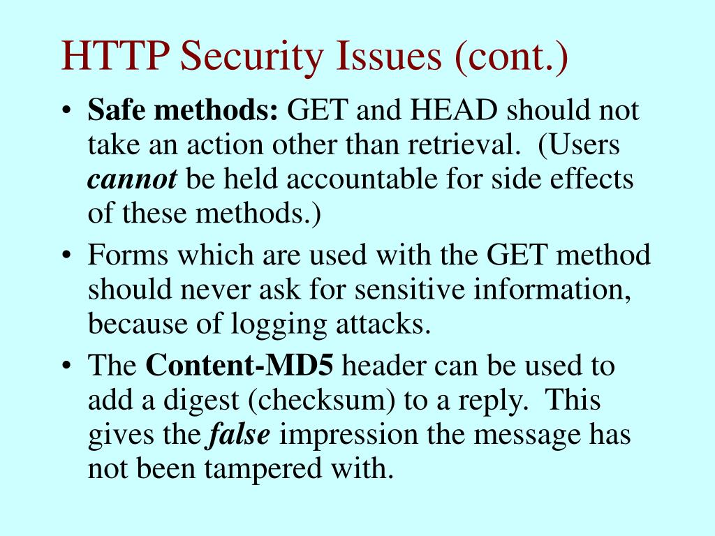 HTTP Security Issues (cont.)
