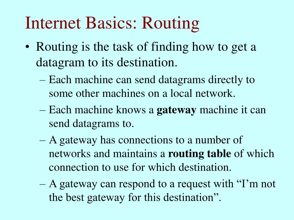 Internet Basics: Routing