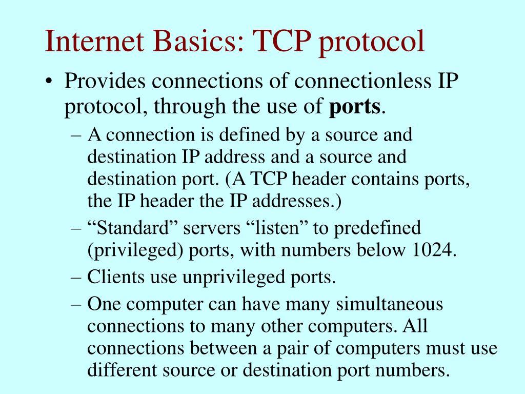 Internet Basics: TCP protocol
