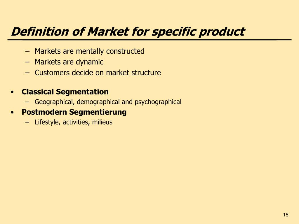 Definition of Market for specific product