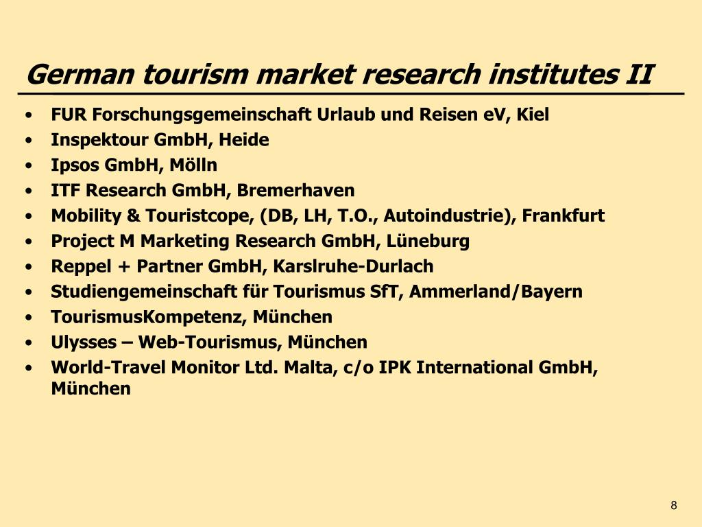 German tourism market research institutes II