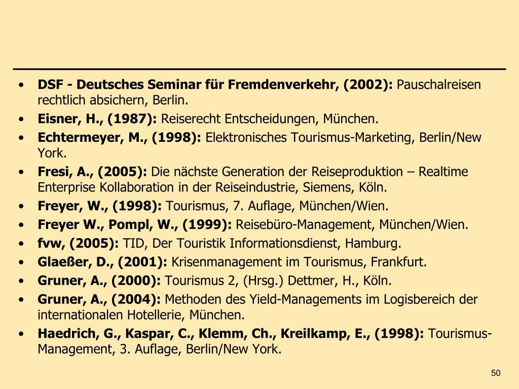 DSF - Deutsches Seminar für Fremdenverkehr, (2002):