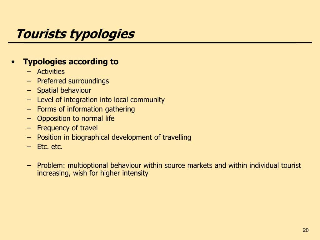 Tourists typologies
