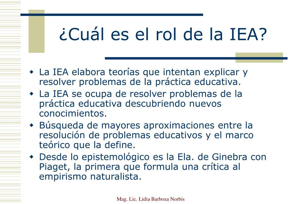 ¿Cuál es el rol de la IEA?