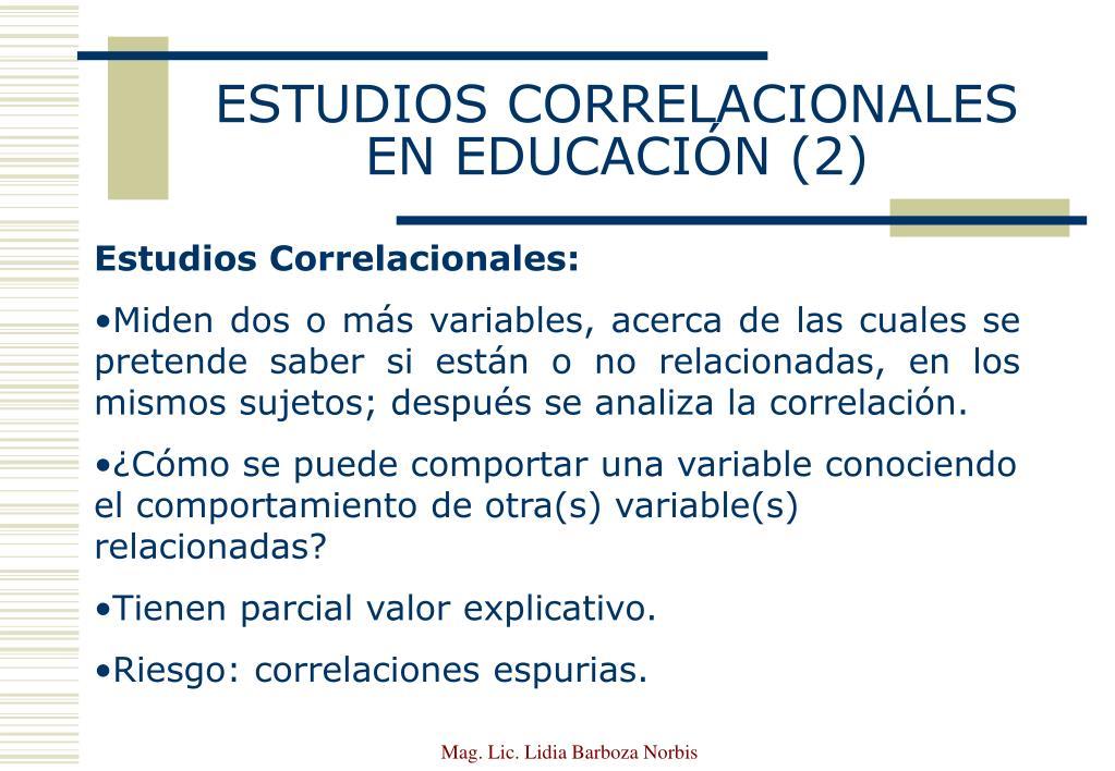 ESTUDIOS CORRELACIONALES EN EDUCACIÓN (2)