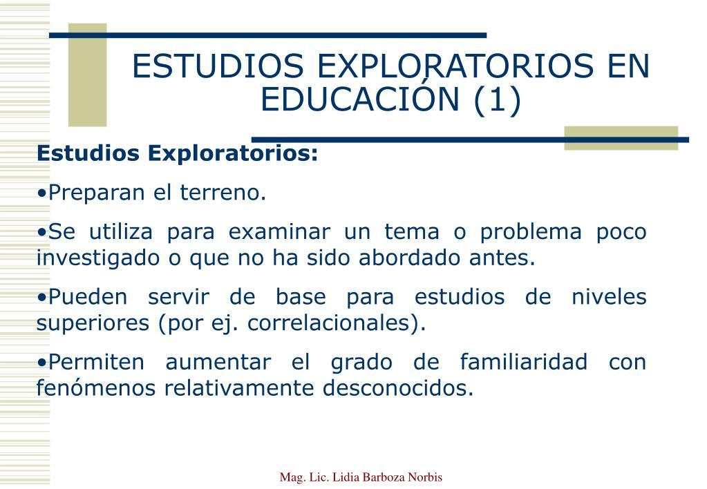 ESTUDIOS EXPLORATORIOS EN EDUCACIÓN (1)