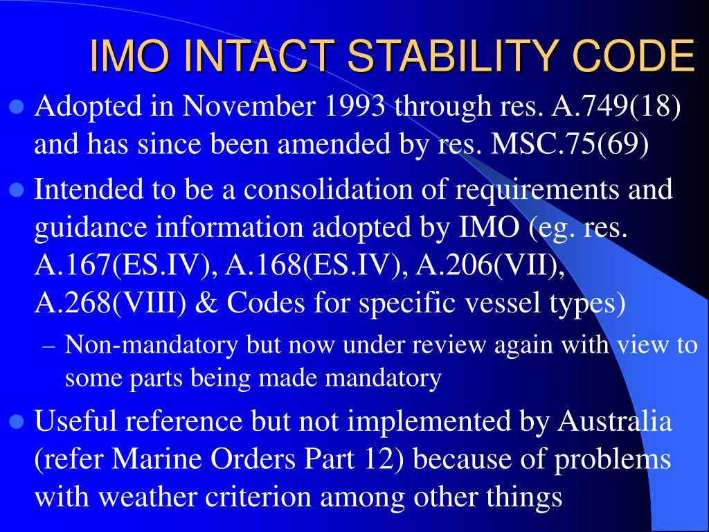 IMO INTACT STABILITY CODE