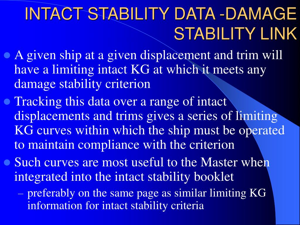 INTACT STABILITY DATA -DAMAGE STABILITY LINK