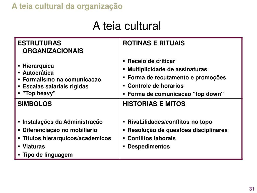 A teia cultural da organização