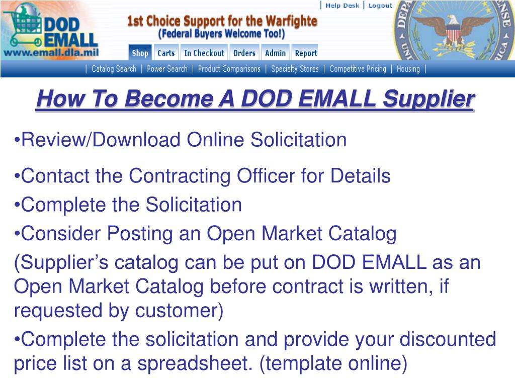 How To Become A DOD EMALL Supplier