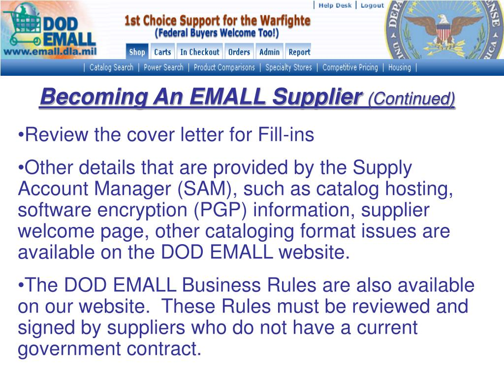 Becoming An EMALL Supplier