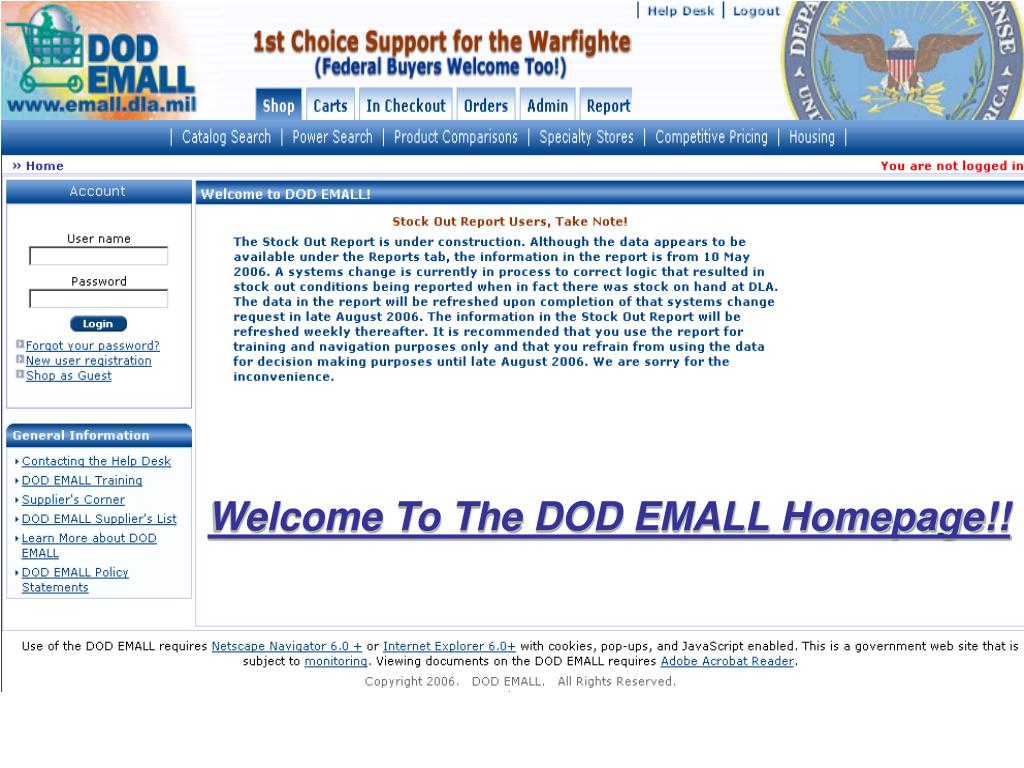 Welcome To The DOD EMALL Homepage!!