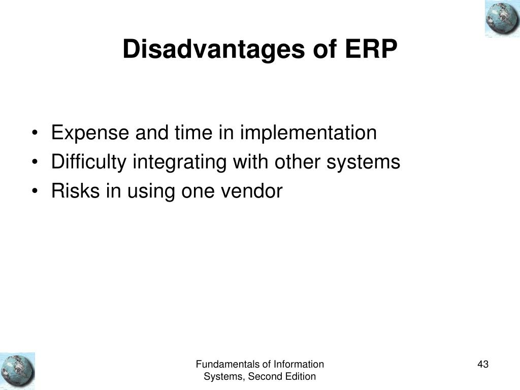 Disadvantages of ERP